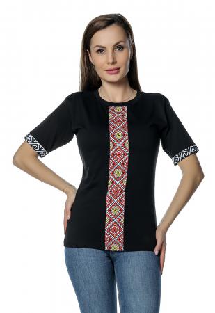 Tricou dama negru cu insertii motive traditionale printate B129