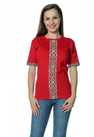 Tricou dama rosu cu insertii motive traditionale printate B1300