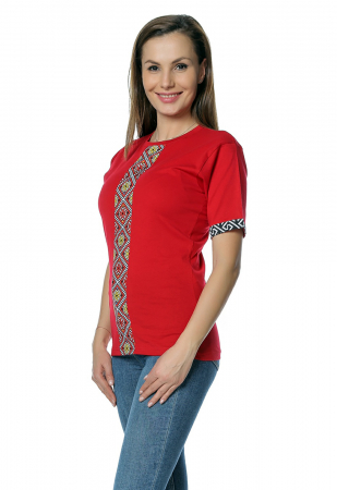 Tricou dama rosu cu insertii motive traditionale printate B1301