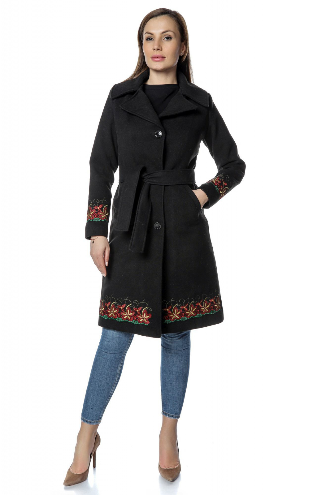cea mai buna alegere cele mai bune oferte cumpara cel mai bine Palton negru dama din stofa cu broderie florala PF35