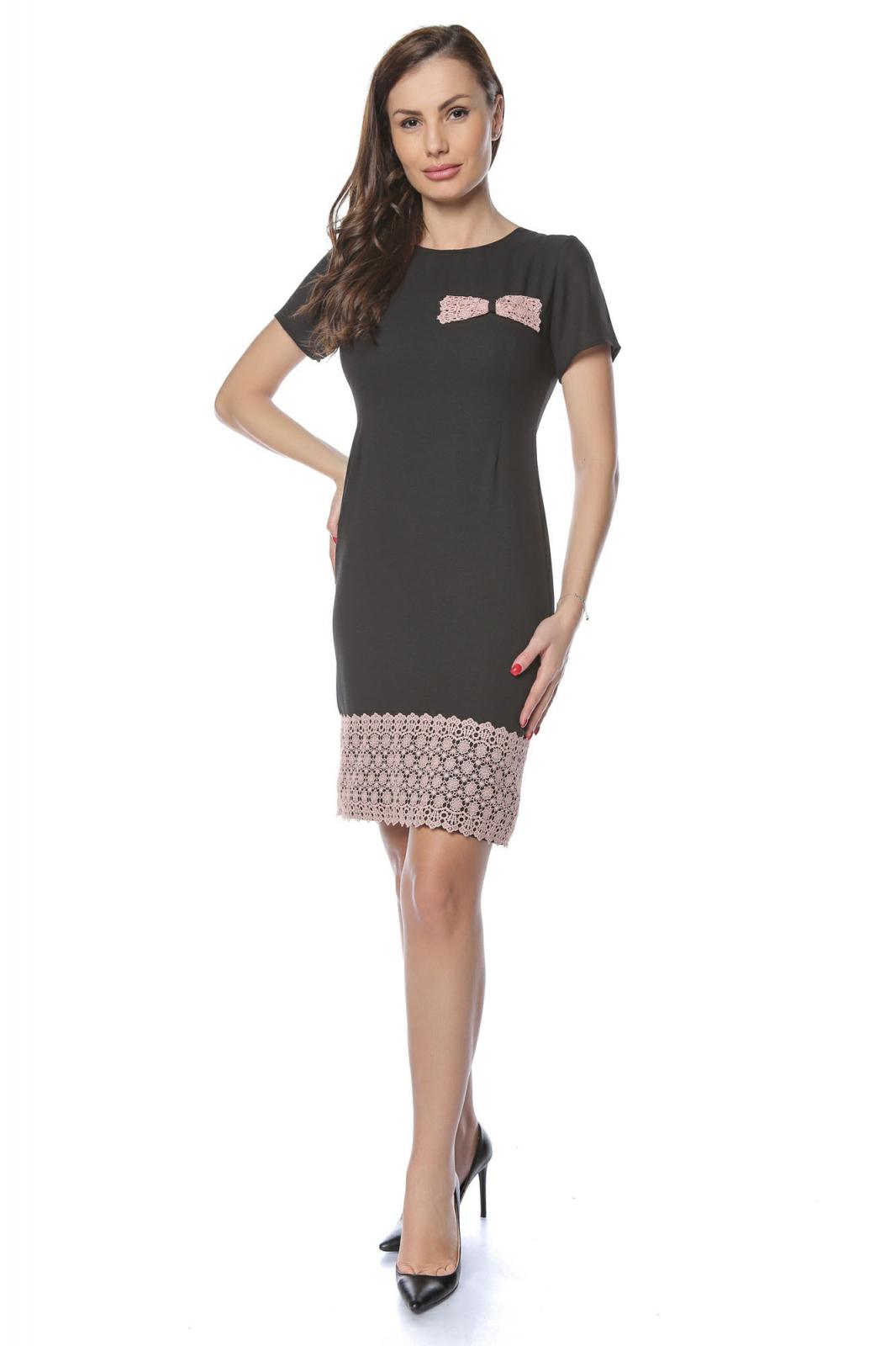 pret ieftin pre-comanda cea mai recentă Rochie dama eleganta neagra cu dantela brodata aplicata RO235