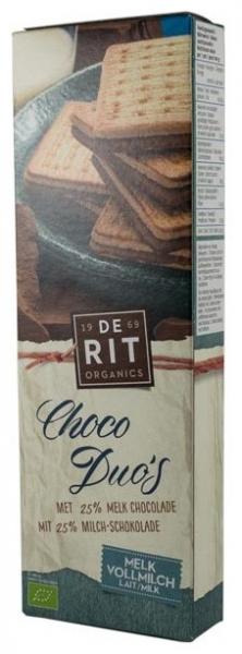 De-Rit – Choco Duo, biscuiti bio cu ciocolata cu lapte, 150g 0