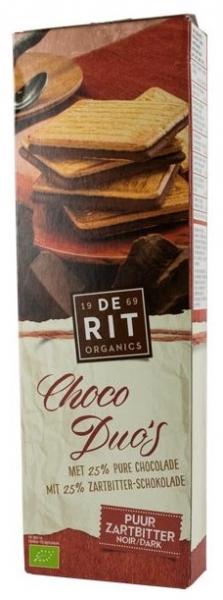 De-Rit – Choco Duo, biscuiti bio cu ciocolata neagra, 150g 0