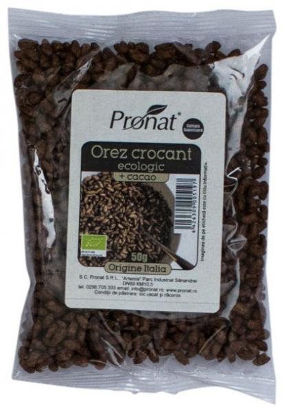 Orez Bio expandat crocant cu cacao 50g 0