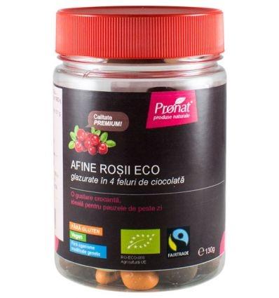 Afine rosii BIO glazurate in 4 feluri de ciocolata, 130 gr 0