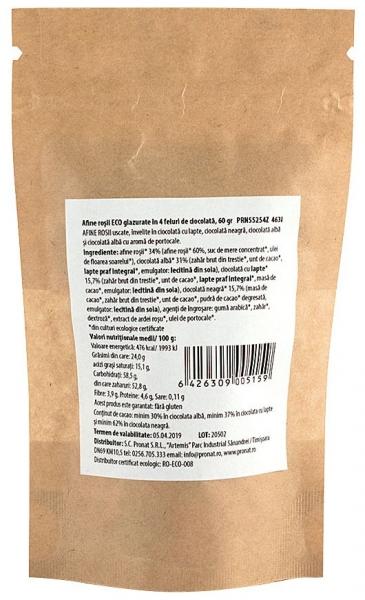 Afine rosii bio, glazurate in 4 feluri de ciocolata, 60 g 1