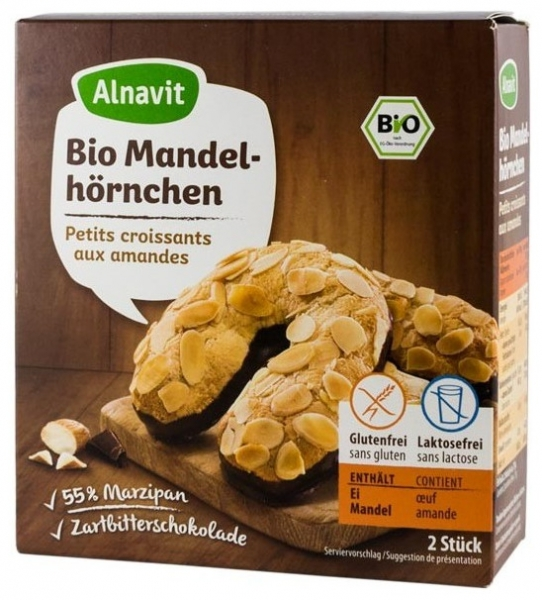 Cornulete fara gluten BIO cu martipan si ciocolata 150 gr 0