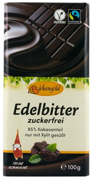 Birkengold - Ciocolata 85% ccao indulcita cu xylitol, 100g 0