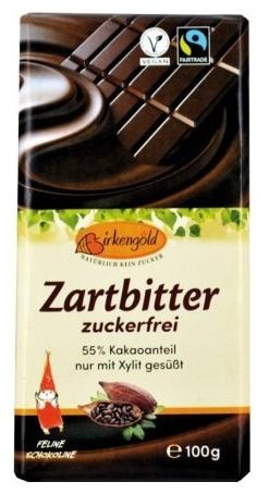 Birkengold - Ciocolata neagra indulcita doar cu xylitol 55% cacao, 100g 0
