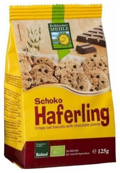 Biscuiti Bio crocanti din ovaz cu bucatele de ciocolata, 125g 0