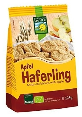 Biscuiti Bio crocanti din ovaz cu mere, 125g
