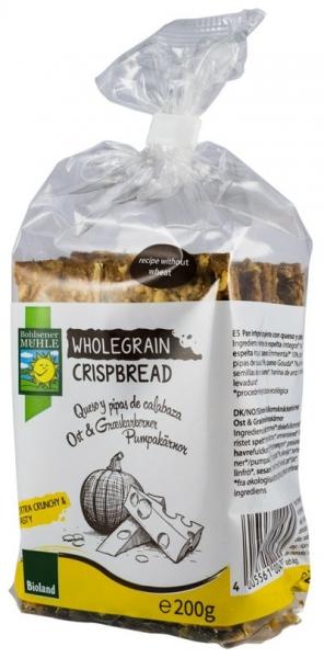 paine crocanta BIO din cereale integrale cu branzeturi si seminte de dovleac, 200g 0
