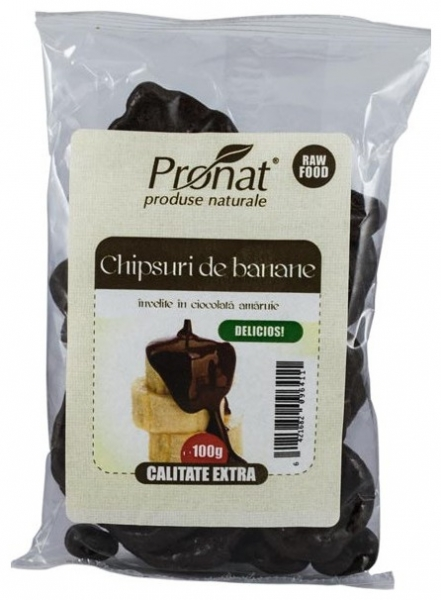 Chipsuri de banane invelite in ciocolata amaruie, 100g 0