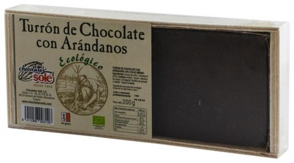Chocolates Sole – Ciocolata BIO Turron cu afine negre, (minim 30% continut de cacao) 200 g 0