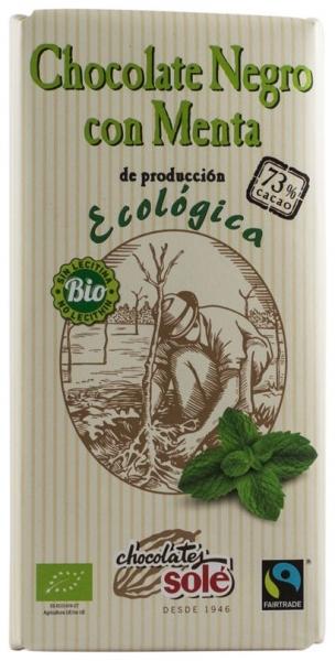 Chocolates Sole – Ciocolata neagra cu menta BIO si Fairtrade 73% cacao, 100g 0