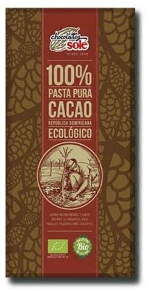 Ciocolata neagra BIO 100% cacao, Chocolates Sole100g 0