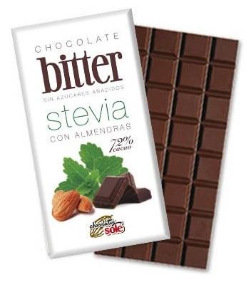 Ciocolata neagra 72% Cacao cu STEVIA si Migdale (mai putine calorii) 100 gr 0