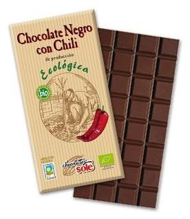 Ciocolata neagra BIO cu chili, 73% cacao, Chocolate Sole, 100 g 0