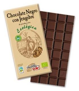 Ciocolata neagra BIO cu ghimbir, 56% cacao, Chocolates Sole, 100 gr 0
