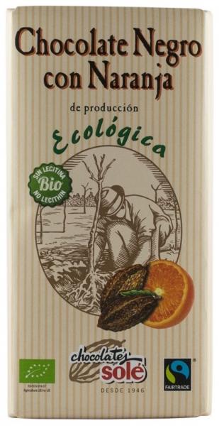 Ciocolata neagra BIO si Fairtrade cu portocale, 56% cacao, Chocolates Sole 100 gr 0