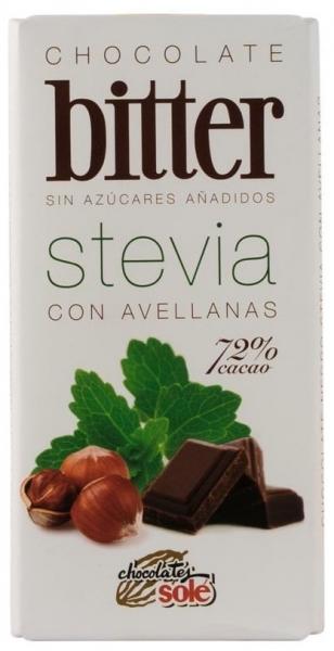 Ciocolata neagra cu alune de padure cu stevie, minim 72% cacao, 100g
