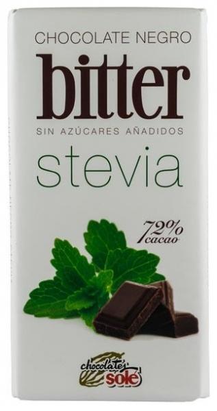 Ciocolata neagra 72% Cacao cu STEVIA (mai putine calorii) 100 gr