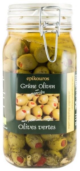 Masline verzi umplute cu ardei rosii in ulei, bio, 1,50 kg 0