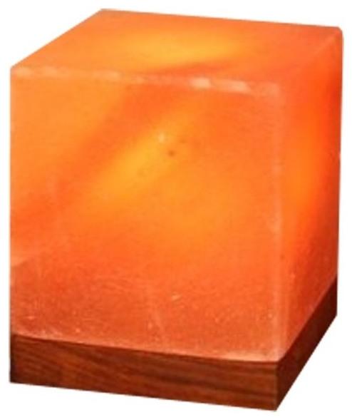 Lampa din sare Himalaya - cub pe suport de lemn 0