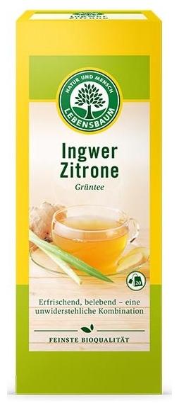 Ceai bio verde de ghimbir si lamaie, 20 plicuri x 2 g, 40 g 0