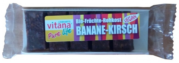 Batoane bio vegan banane-visine, 50 g 0