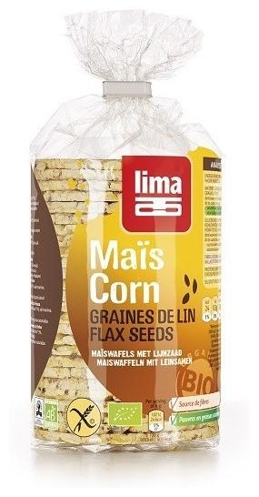 Vafe Bio subtiri din malai cu seminte de in, 150 g 0