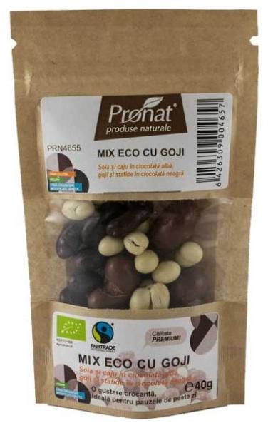 Mix Bio cu goji - seminte si fructe uscate trase in ciocolata, 40gr 0