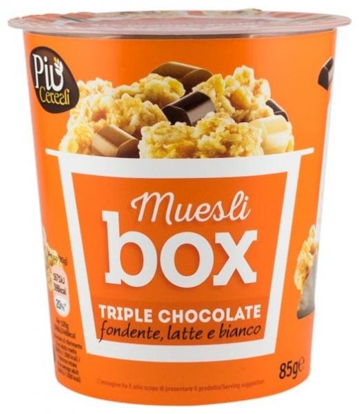 Muesli BOX – Mix de cereale crocante cu trei feluri de ciocolata: ciocolata cu lapte, ciocolata amaruie și ciocolata alba, 85 gr