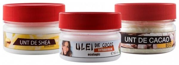 Pachet uleiuri bio: Ulei de cocos + Unt de shea + Unt de cacao,  3x60 ml 0
