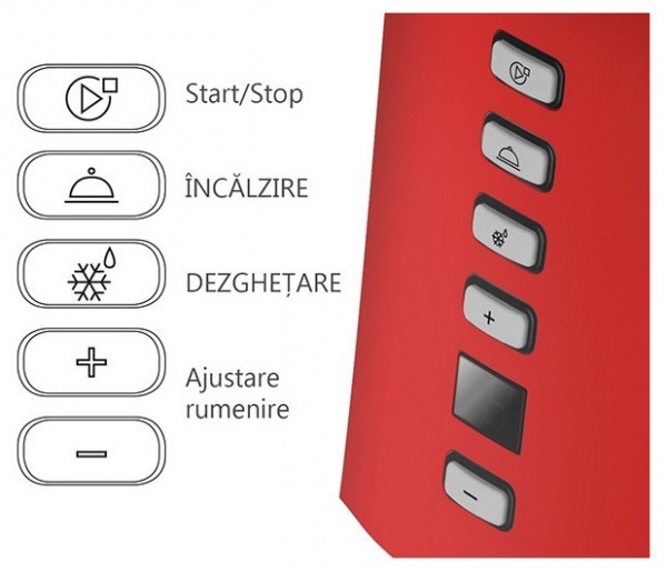 Prajitor de paine Oursson TO2145D/RD, panou de control digital, 800 W, Rosu 3