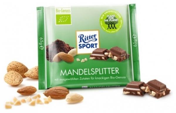 RITTER SPORT – Ciocolata Bio cu bucati de migdale 23% cacao, 65 g 0