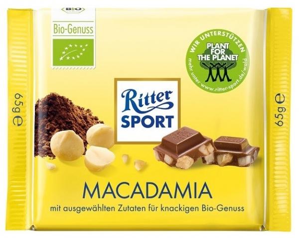 Ciocolata Bio cu nuci de MACADAMIA Ritter Sport 65 gr 0