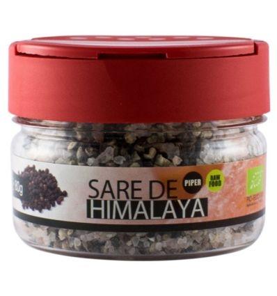 Solniță  Sare de Himalaya cu boabe de piper negru Bio, 80g 0