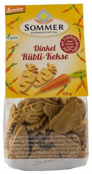 Biscuiți bio din grau spelta fara zahar, cu morcovi, Demeter 150 gr 0