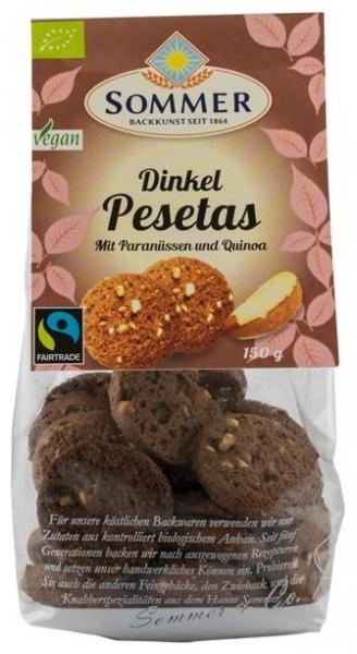 Pesetas – Biscuiti bio din faina de grau spelta cu nuci braziliene si quinoa, Fairtrade, 150gr 0