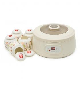Aparat preparat iaurt Oursson FE1502D/IV, 20 W, 1 l, 5 recipiente ceramica, LCD, Functie fermentare, Timer, Alb [0]