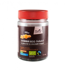 Ghimbir indulcit si glazurat cu ciocolata neagra, 130 gr0