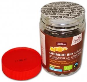 Ghimbir indulcit si glazurat cu ciocolata neagra, 130 gr1