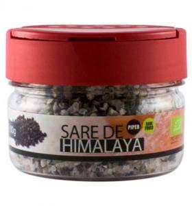 Solniță  Sare de Himalaya cu boabe de piper negru Bio, 80g0