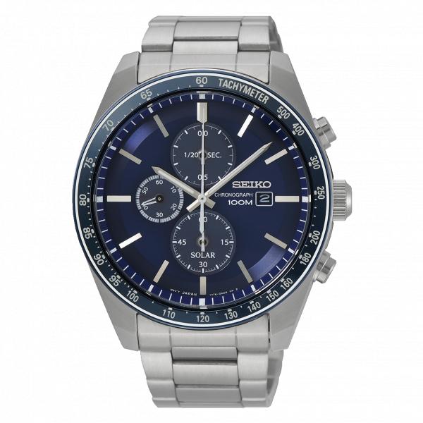 Ceas bărbătesc cu baterie solară, cronograf și dată Seiko Solar  SSC719P1 0