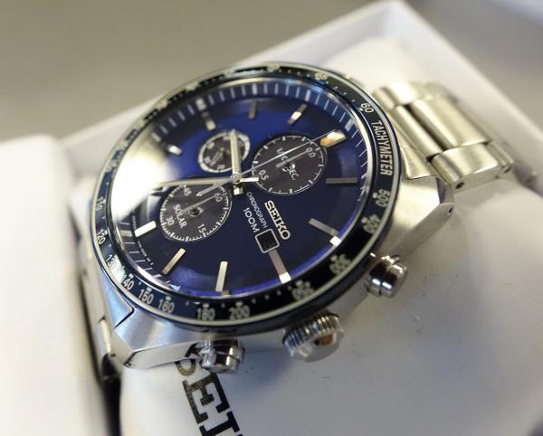 Ceas bărbătesc cu baterie solară, cronograf și dată Seiko Solar  SSC719P1 6