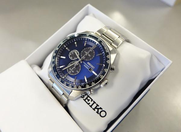 Ceas bărbătesc cu baterie solară, cronograf și dată Seiko Solar  SSC719P1 5