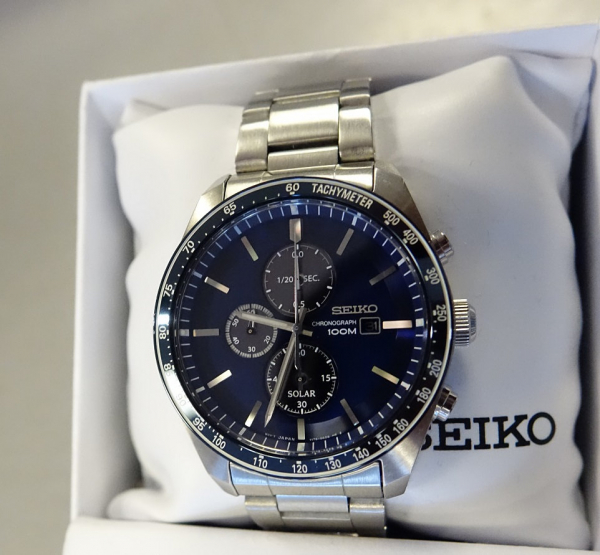 Ceas bărbătesc cu baterie solară, cronograf și dată Seiko Solar  SSC719P1 4