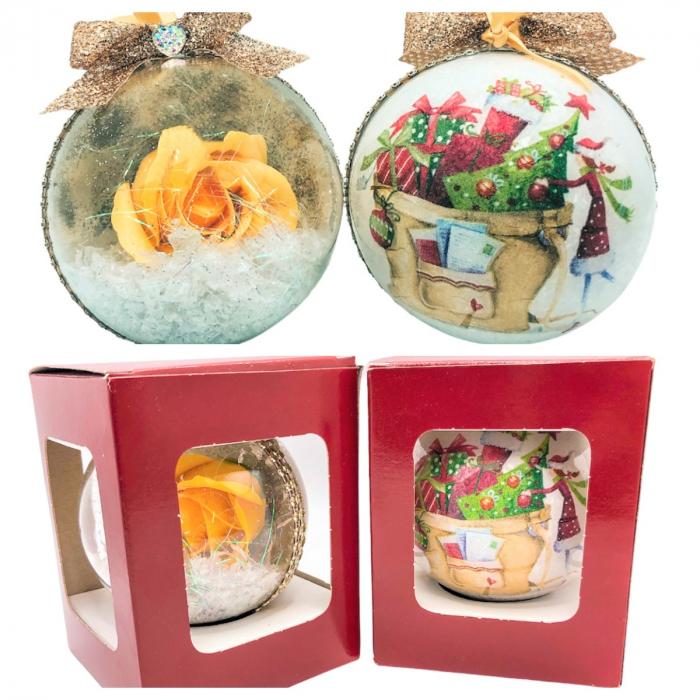 Glob handmade cu trandafir - galben 2