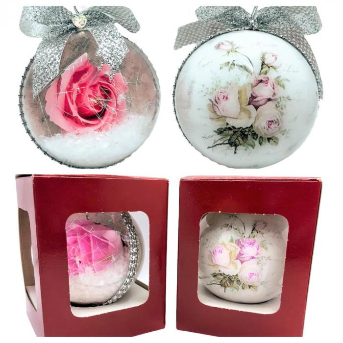 Glob handmade cu trandafir - roz 2